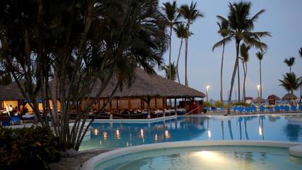 Quiet evening on tropical resort