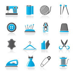 sewing equipment and objects icons - vector icon set