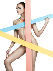 Elegant naked lady with colors stripes