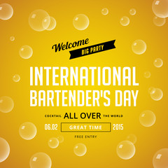 International Bartender's Day Typography lettering poster