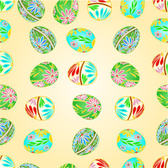 Seamless texture Easter eggs floral pattern vector illustration