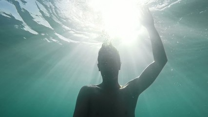 Young Man Drowning Sinking Deep Ocean Sea Business Failure Dark