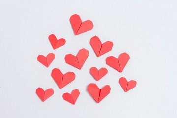 Love day. Handmade DIY origami hearts background