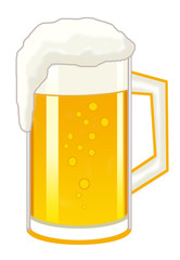 Beer, beer with foam in a transparent mug on a white background