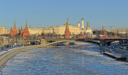 Moscow, view of the Moscow Kremlin in winter