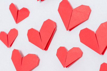 Handmade DIY origami hearts