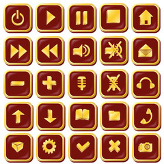 Button icons are red with gold-vector illustration