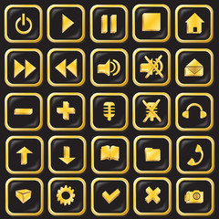 Button icons are black with gold-vector illustration