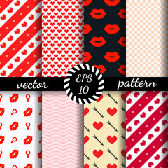 Set of seamless patterns Valentine's Day.