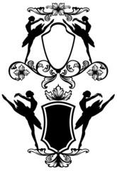 ballet dancer black and white emblems