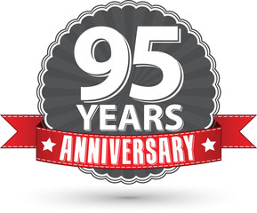 Celebrating 95 years anniversary retro label with red ribbon, ve