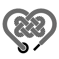 vector shoelace celtic heart black symbol