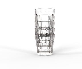 Glasses stacked on top of each other