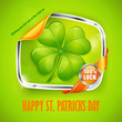 Four leaf clover sticker on green, vector illustration for St.