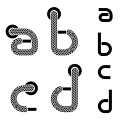 vector shoelace alphabet lower case letters a b c d