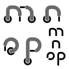 vector shoelace alphabet lower case letters m n o p