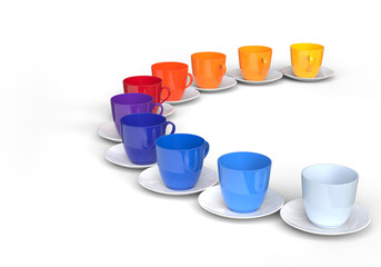 Pallete of color and coffee cups