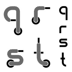 vector shoelace alphabet lower case letters q r s t