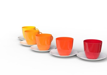 Coffee Cups - Warm Colors