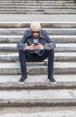 Young man using wifi