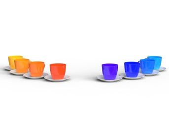 Cold and Warm Color Coffee Cups