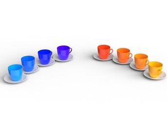 Warm and Cold Color Coffee Cups