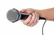 canvas print picture - Frau hält Mikrofon