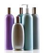 Leinwandbild Motiv Cosmetic bottles isolated on white background