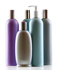 Cosmetic bottles isolated on white background