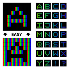 vector RGB pixel font alphabet