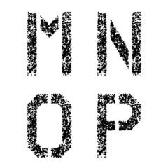 vector stencil angular spray font letters M N O P