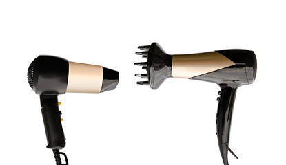 two hair dryers on a white background