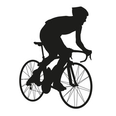 Isolated vector silhouette road cyclists racer