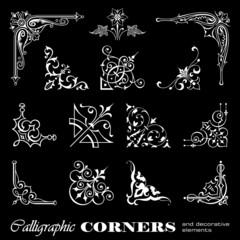 Calligraphic corners isolated on black background