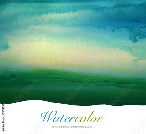 Aluminium Geschilderde Achtergrond Abstract watercolor hand painted landscape background. Textured