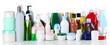 Leinwandbild Motiv Group of cosmetic bottles isolated on white