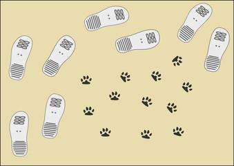 Spuren von Herr und Hund