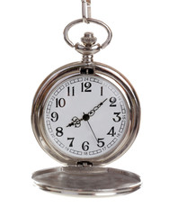 Silver pocket clock isolated on white