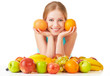 happy girl and healthy vegetarian food, fruit Isolated
