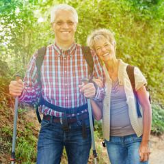 Zwei Senioren wandern im Sommer