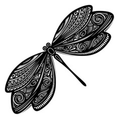 Vector Beautiful Dragonfly, Exotic Insect. Patterned design, Tat