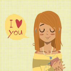 Vector cartoon flat I love you greeting card.