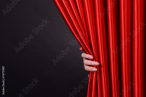 Red Curtain on black background - 76751987