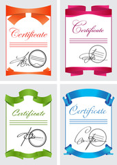 Certificate set, color icons, vector illustration