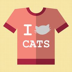 I love cats flat retro vintage t-shirt icon.
