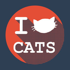I love cats flat retro vintage icon.