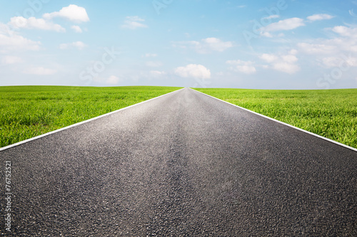 Long empty straight road, highway. Travel - 76752521