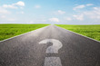 Leinwanddruck Bild - Question mark symbol on long empty straight road, highway