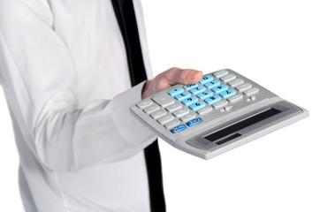 Business man offer calculator