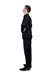 Business man looking corner